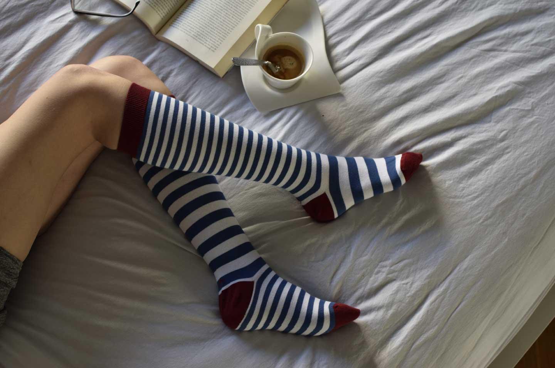 Calcetines de rayas horizontales caña alta