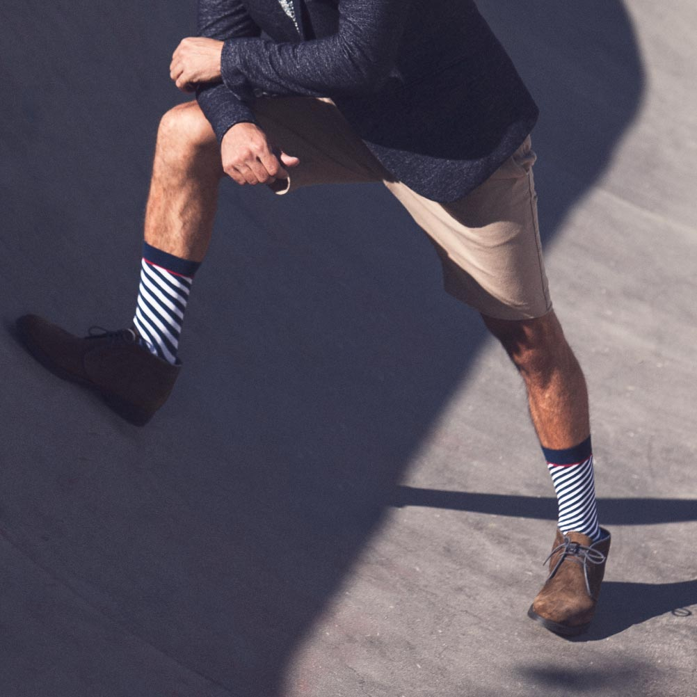 Marine diagonal striped socks man