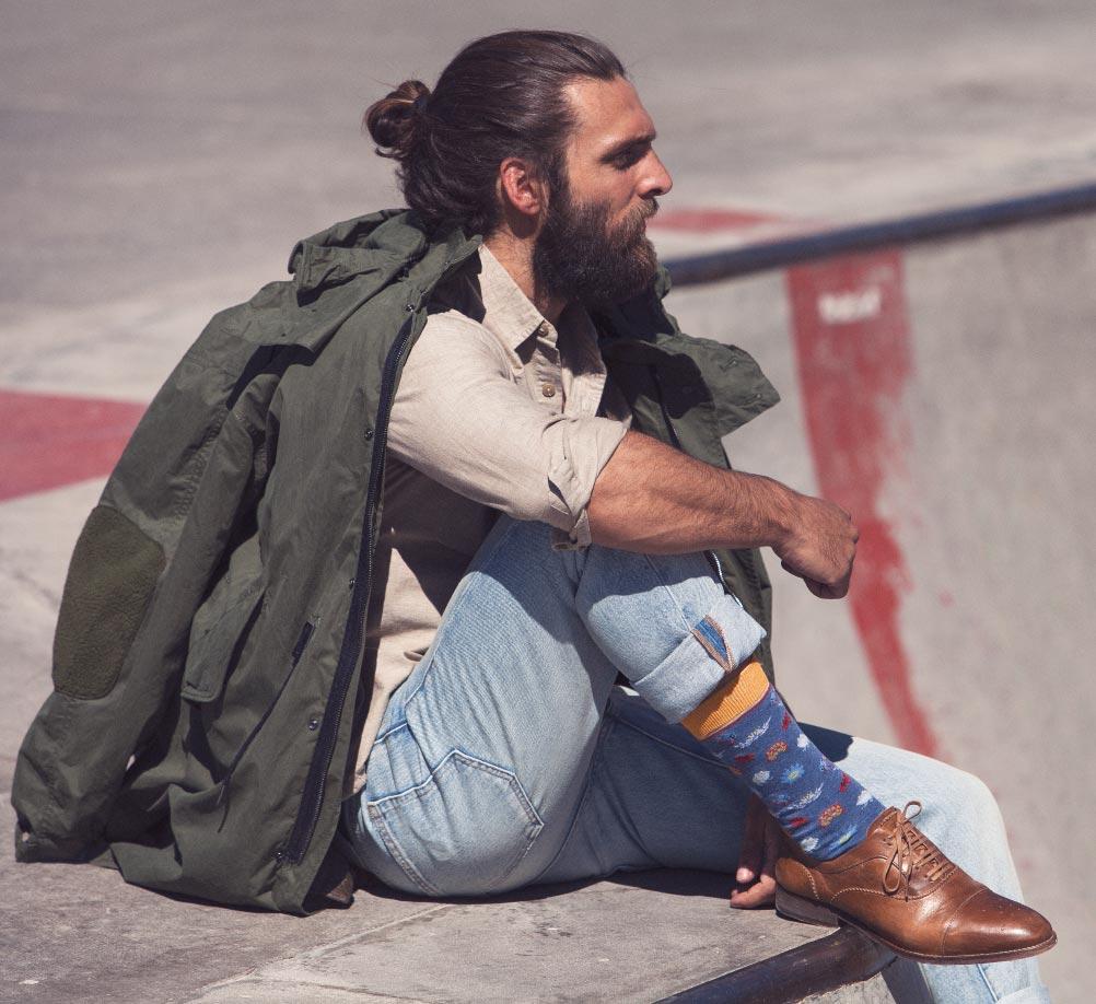 calcetines hombre ranas cana media