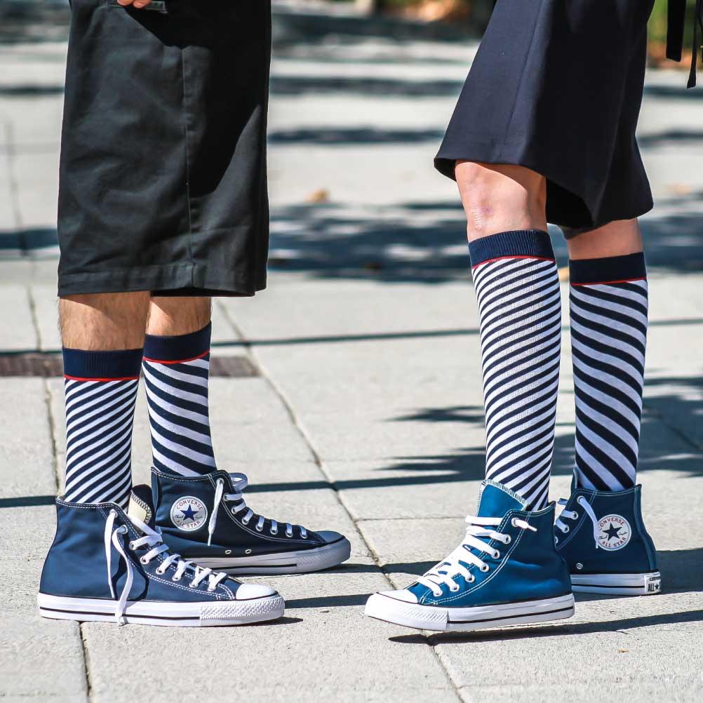 Marine Diagonal Stripes Long Socks men & women