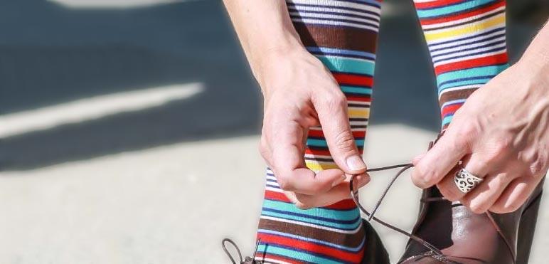Calcetines largos estilo multiraya