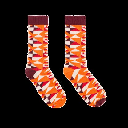 calcetines geometrico naranja